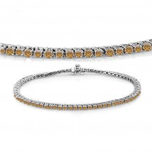 2.00 Carat (ctw) 18K White Gold Round Cut Real Champagne Diamond Ladies Tennis Bracelet 2 CT