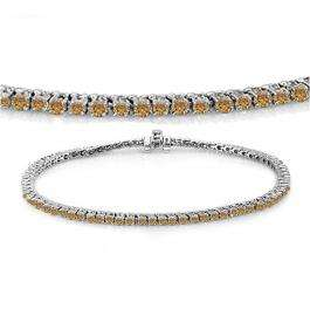 3.00 Carat (ctw) 18K White Gold Round Cut Real Champagne Diamond Ladies Tennis Bracelet 3 CT