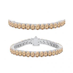 7.00 Carat (ctw) 18K White Gold Round Cut Real Champagne Diamond Ladies Tennis Bracelet 7 CT