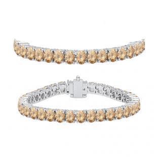 8.00 Carat (ctw) 18K White Gold Round Cut Real Champagne Diamond Ladies Tennis Bracelet 8 CT