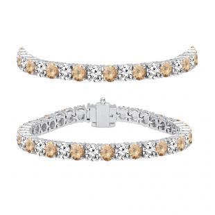 10.00 Carat (ctw) 10K White Gold Round Real Champagne & White Diamond Ladies Tennis Bracelet 10 CT