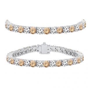 12.00 Carat (ctw) 10K White Gold Round Real Champagne & White Diamond Ladies Tennis Bracelet 12 CT