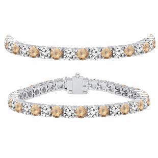 15.00 Carat (ctw) 10K White Gold Round Real Champagne & White Diamond Ladies Tennis Bracelet 15 CT