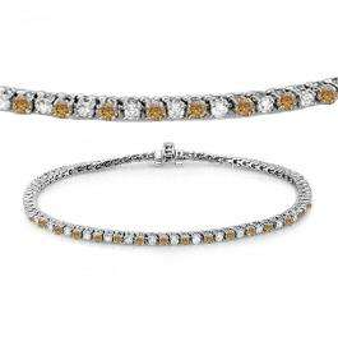 3.00 Carat (ctw) 14K White Gold Round Real Champagne & White Diamond Ladies Tennis Bracelet 3 CT