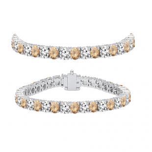 8.00 Carat (ctw) 14K White Gold Round Real Champagne & White Diamond Ladies Tennis Bracelet 8 CT