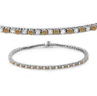 2.00 Carat (ctw) 18K White Gold Round Real Champagne & White Diamond Ladies Tennis Bracelet 2 CT