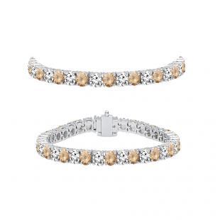 5.00 Carat (ctw) 18K White Gold Round Real Champagne & White Diamond Ladies Tennis Bracelet 5 CT