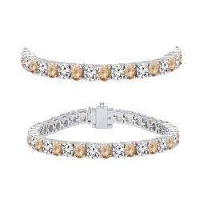 7.00 Carat (ctw) 18K White Gold Round Real Champagne & White Diamond Ladies Tennis Bracelet 7 CT