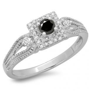 0.40 Carat (ctw) 14K White Gold Round Cut Black & White Diamond Ladies Bridal Vintage Halo Style Engagement Ring