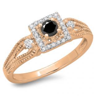 0.40 Carat (ctw) 18K Rose Gold Round Cut Black & White Diamond Ladies Bridal Vintage Halo Style Engagement Ring