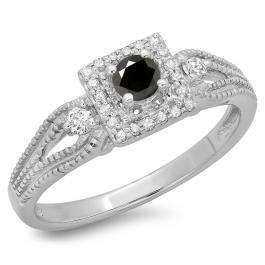 0.40 Carat (ctw) 18K White Gold Round Cut Black & White Diamond Ladies Bridal Vintage Halo Style Engagement Ring