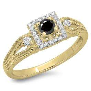 0.40 Carat (ctw) 18K Yellow Gold Round Cut Black & White Diamond Ladies Bridal Vintage Halo Style Engagement Ring