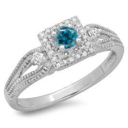0.40 Carat (ctw) 10K White Gold Round Cut Blue & White Diamond Ladies Bridal Vintage Halo Style Engagement Ring