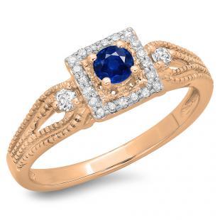 0.40 Carat (ctw) 18K Rose Gold Round Cut Blue Sapphire & White Diamond Ladies Bridal Vintage Halo Style Engagement Ring