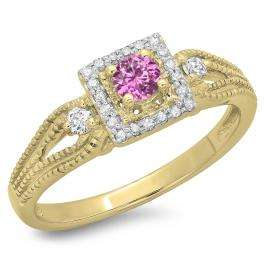 0.40 Carat (ctw) 10K Yellow Gold Round Cut Pink Sapphire & White Diamond Ladies Bridal Vintage Halo Style Engagement Ring