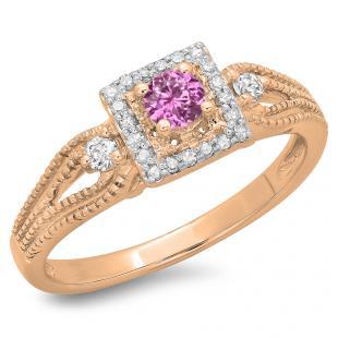 0.40 Carat (ctw) 18K Rose Gold Round Cut Pink Sapphire & White Diamond Ladies Bridal Vintage Halo Style Engagement Ring
