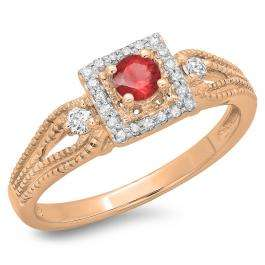 0.40 Carat (ctw) 10K Rose Gold Round Cut Red Ruby & White Diamond Ladies Bridal Vintage Halo Style Engagement Ring