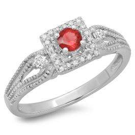 0.40 Carat (ctw) 10K White Gold Round Cut Red Ruby & White Diamond Ladies Bridal Vintage Halo Style Engagement Ring