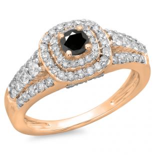 1.00 Carat (ctw) 14K Rose Gold Round Cut Black & White Diamond Ladies Vintage Style Bridal Halo Engagement Ring 1 CT