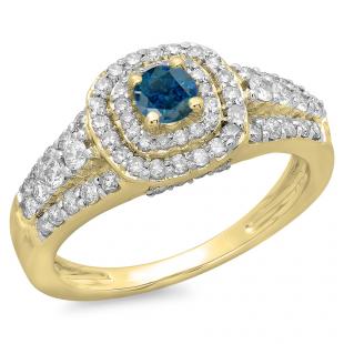 1.00 Carat (ctw) 14K Yellow Gold Round Cut Blue & White Diamond Ladies Vintage Style Bridal Halo Engagement Ring 1 CT