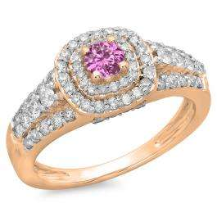 1.00 Carat (ctw) 10K Rose Gold Round Cut Pink Sapphire & White Diamond Ladies Vintage Style Bridal Halo Engagement Ring 1 CT