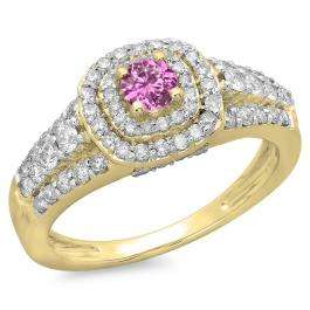 1.00 Carat (ctw) 14K Yellow Gold Round Cut Pink Sapphire & White Diamond Ladies Vintage Style Bridal Halo Engagement Ring 1 CT