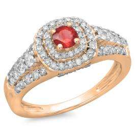 1.00 Carat (ctw) 18K Rose Gold Round Cut Red Ruby & White Diamond Ladies Vintage Style Bridal Halo Engagement Ring 1 CT