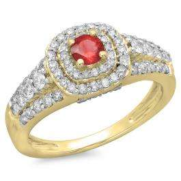 1.00 Carat (ctw) 18K Yellow Gold Round Cut Red Ruby & White Diamond Ladies Vintage Style Bridal Halo Engagement Ring 1 CT
