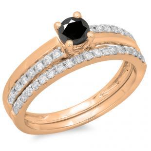 0.75 Carat (ctw) 10K Rose Gold Round Cut Black & White Diamond Ladies Bridal Engagement Ring With Matching Band Set 3/4 CT