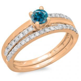 0.75 Carat (ctw) 10K Rose Gold Round Cut Blue & White Diamond Ladies Bridal Engagement Ring With Matching Band Set 3/4 CT