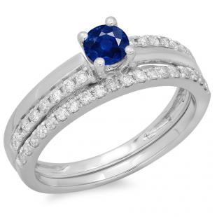 0.75 Carat (ctw) 18K White Gold Round Cut Blue Sapphire & White Diamond Ladies Bridal Engagement Ring With Matching Band Set 3/4 CT