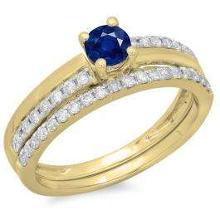 0.75 Carat (ctw) 18K Yellow Gold Round Cut Blue Sapphire & White Diamond Ladies Bridal Engagement Ring With Matching Band Set 3/4 CT