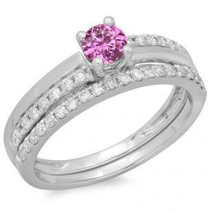0.75 Carat (ctw) 18K White Gold Round Cut Pink Sapphire & White Diamond Ladies Bridal Engagement Ring With Matching Band Set 3/4 CT