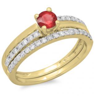 0.75 Carat (ctw) 14K Yellow Gold Round Cut Red Ruby & White Diamond Ladies Bridal Engagement Ring With Matching Band Set 3/4 CT