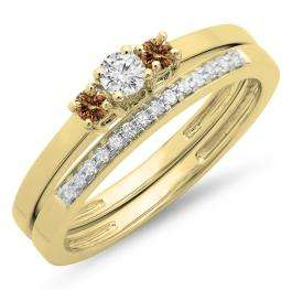 0.33 Carat (ctw) 10K Yellow Gold Round Cut White & Champagne Diamond Ladies Bridal Engagement 3 Stone Ring With Matching Wedding Band Set 1/3 CT