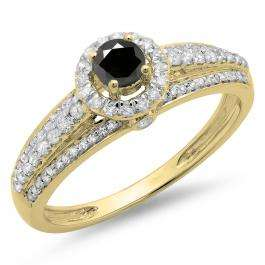 0.75 Carat (ctw) 10K Yellow Gold Round Cut White & Black Diamond Ladies Bridal Halo Style Engagement Ring 3/4 CT