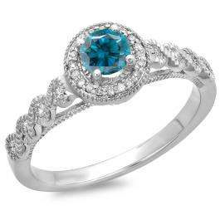 0.55 Carat (ctw) 18K White Gold Round Cut White & Blue Diamond Ladies Bridal Vintage & Antique Millgrain Halo Style Engagement Ring 1/2 CT
