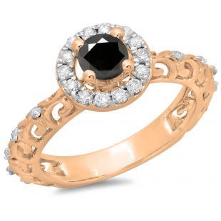 0.80 Carat (ctw) 10K Rose Gold Round Cut Black & White Diamond Ladies Bridal Vintage Halo Style Engagement Ring 3/4 CT