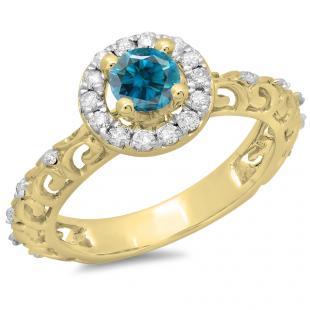 0.80 Carat (ctw) 14K Yellow Gold Round Cut Blue & White Diamond Ladies Bridal Vintage Halo Style Engagement Ring 3/4 CT