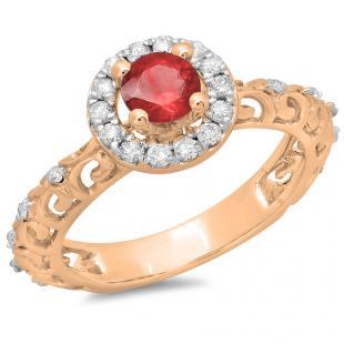 0.80 Carat (ctw) 10K Rose Gold Round Cut Red Ruby & White Diamond Ladies Bridal Vintage Halo Style Engagement Ring 3/4 CT