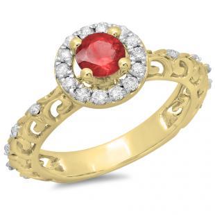 0.80 Carat (ctw) 14K Yellow Gold Round Cut Red Ruby & White Diamond Ladies Bridal Vintage Halo Style Engagement Ring 3/4 CT