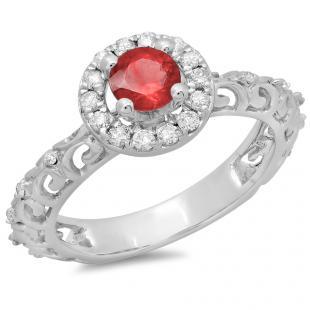 0.80 Carat (ctw) 18K White Gold Round Cut Red Ruby & White Diamond Ladies Bridal Vintage Halo Style Engagement Ring 3/4 CT