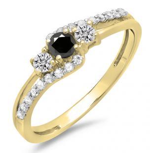 0.45 Carat (ctw) 10K Yellow Gold Round Black & White Diamond Ladies 3 Stone Bridal Engagement Promise Ring 1/2 CT
