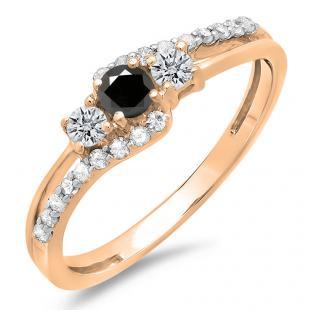 0.45 Carat (ctw) 18K Rose Gold Round Black & White Diamond Ladies 3 Stone Bridal Engagement Promise Ring 1/2 CT