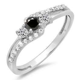 0.45 Carat (ctw) 18K White Gold Round Black & White Diamond Ladies 3 Stone Bridal Engagement Promise Ring 1/2 CT