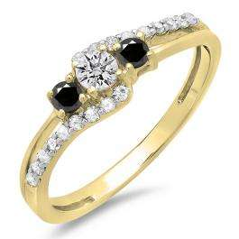 0.45 Carat (ctw) 10K Yellow Gold Round Black & White Diamond Ladies 3 Stone Bridal Engagement Promise Ring 1/2 CT