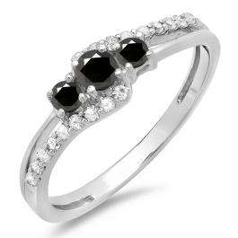 0.45 Carat (ctw) 14K White Gold Round Black & White Diamond Ladies 3 Stone Bridal Engagement Promise Ring 1/2 CT