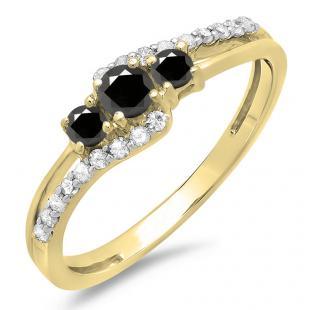 0.45 Carat (ctw) 14K Yellow Gold Round Black & White Diamond Ladies 3 Stone Bridal Engagement Promise Ring 1/2 CT