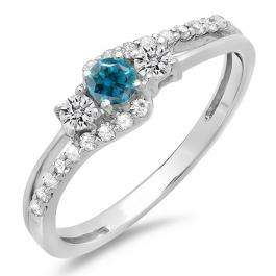 0.45 Carat (ctw) 10K White Gold Round Blue & White Diamond Ladies 3 Stone Bridal Engagement Promise Ring 1/2 CT