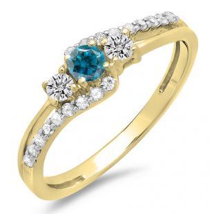 0.45 Carat (ctw) 18K Yellow Gold Round Blue & White Diamond Ladies 3 Stone Bridal Engagement Promise Ring 1/2 CT